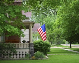 vintage home with flag - small
