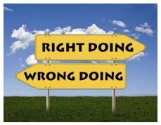 sign for right doing wrong